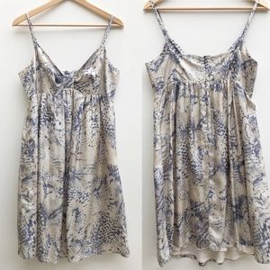 Tara Jarmon Silk Snake Print Empire Strap Dress 42